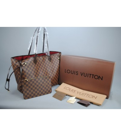 LOUIS VUITTON DAMIER CANVAS NEVERFULL GM VEJITAL DERI BÜYÜK BOY