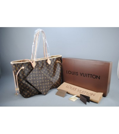 LOUIS VUITTON MONOGRAM CANVAS NEVERFULL GM VEJITAL DERI BÜYÜK BOY