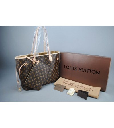 LOUIS VUITTON MONOGRAM CANVAS NEVERFULL MM VEJITAL DERI ORTA BOY