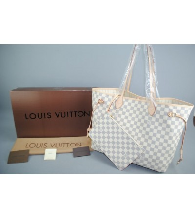 LOUIS VUITTON DAMIER AZUR NEVERFULL GM VEJITAL DERI ORTA BOY