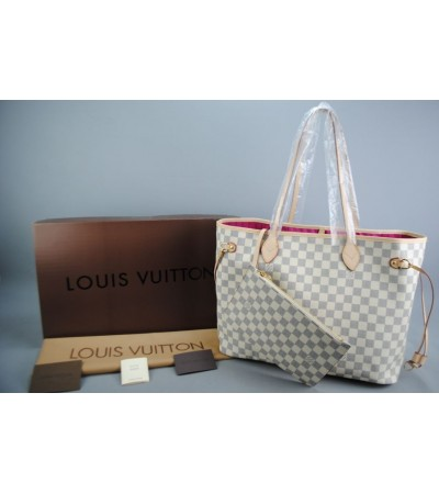 LOUIS VUITTON DAMIER AZUR NEVERFULL MM VEJITAL DERI ORTA BOY