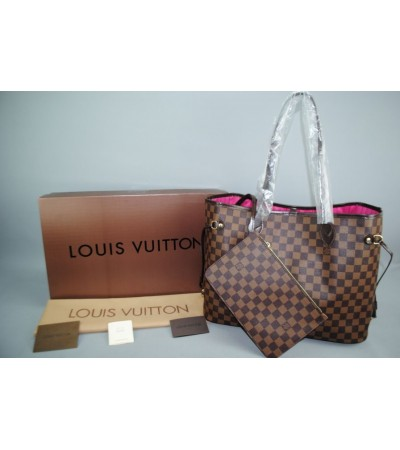 LOUIS VUITTON DAMIER CANVAS NEVERFULL MM VEJITAL DERI ORTA BOY