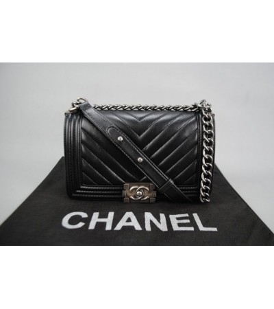 CHANEL MICRO CHEVRON BOY BAG %100 hakiki deri