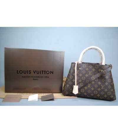 LOUIS VUITTON MONOGRAM CANVAS MONTAIGNE MM ORTA BOY VEJITAL DERI
