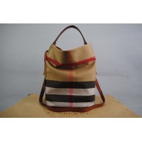 Burberry CANVAS CHECK HOBO BAG MEDIUM
